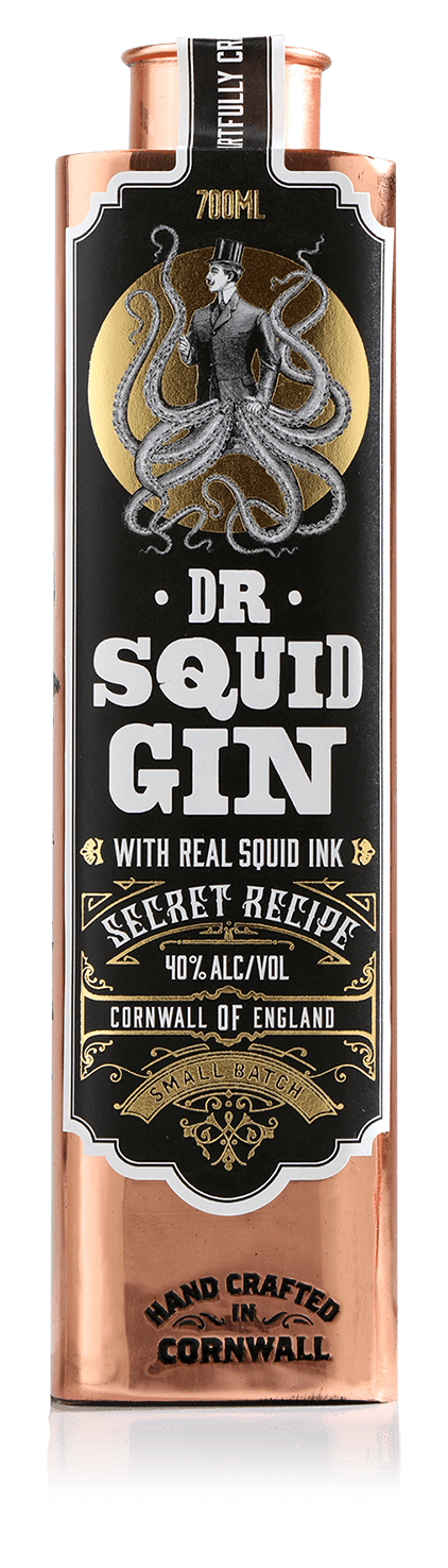 Dr. Squid Gin w/ Real Squid Ink 40% ABV, 70cl